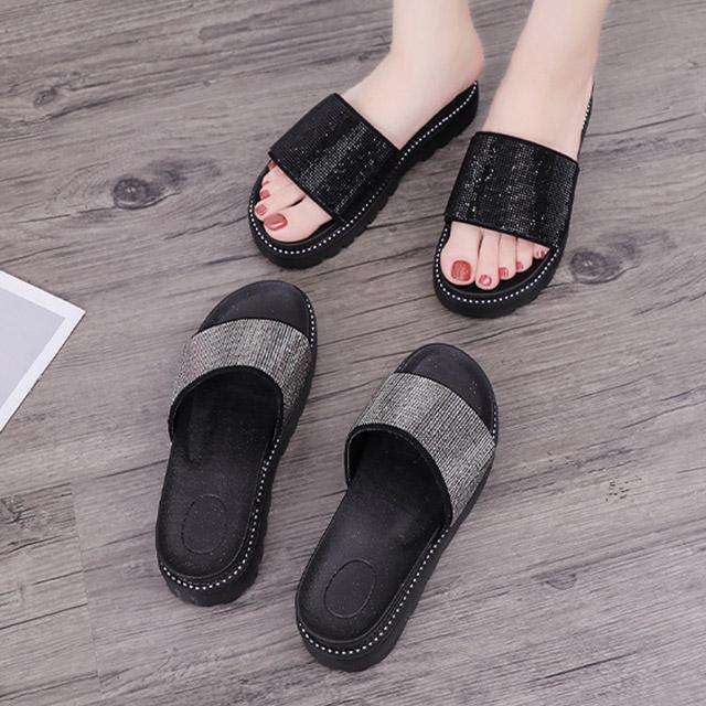 【韓國K.W.】Y4652 街頭潮人俏佳人水鑽拖鞋