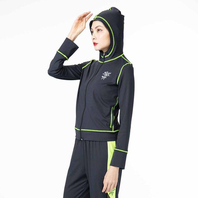 【HOII后益】防曬時尚-撞色風格連帽外套-黑