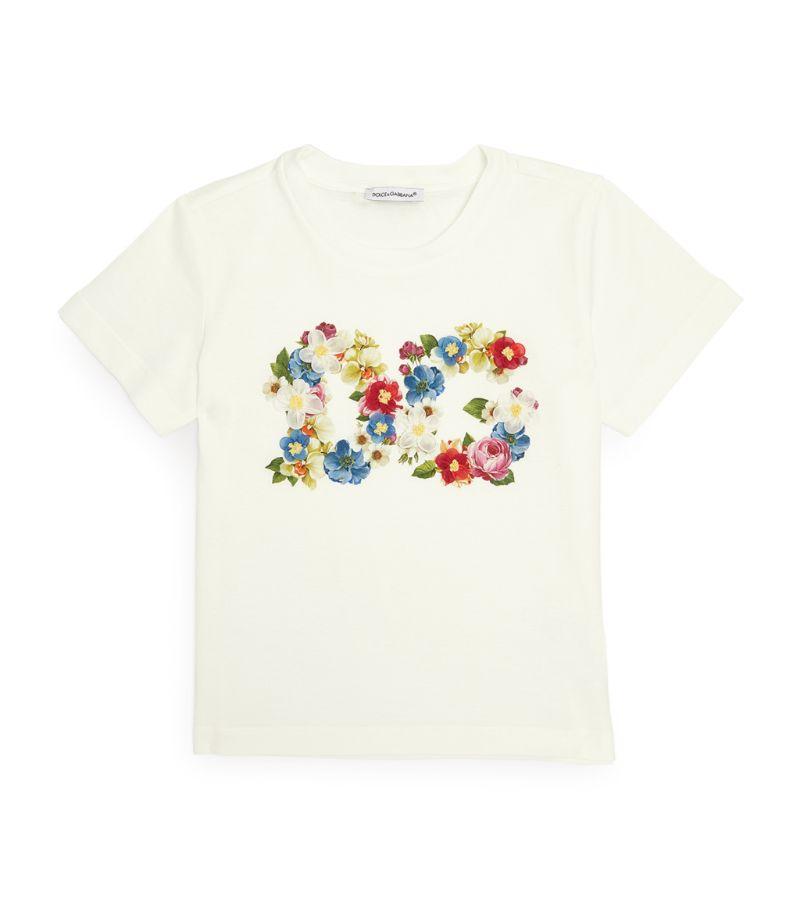 Dolce & Gabbana Kids Embellished Floral Initials T-Shirt
