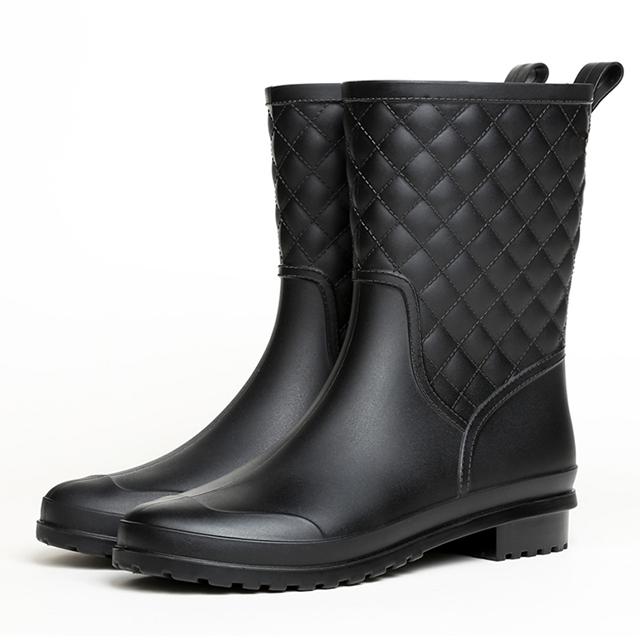 【韓國K.W.】Y4697 名媛簡約樸實晴雨二用雨靴短筒靴
