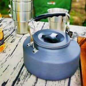 美麗大街【109051452】野外茶壺野營鋁合金1.1L咖啡壺便攜開水壺