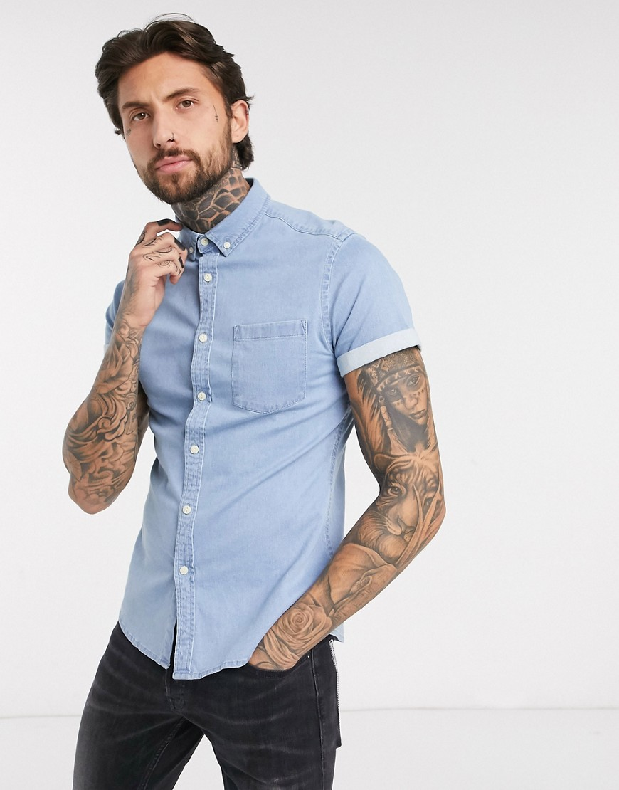 ASOS DESIGN stretch slim organic denim shirt in light wash-Blue