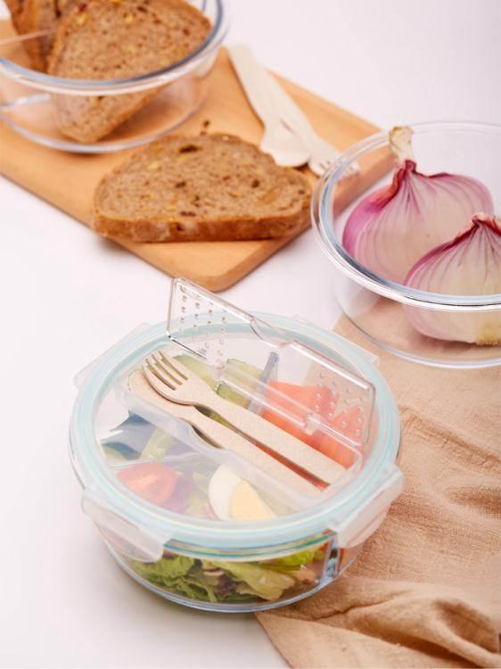上班族玻璃飯盒微波爐加熱專用保鮮分隔型便當學生帶蓋圓形碗套裝