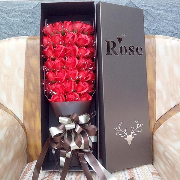 仿真玫瑰花束情人節520禮物送女友老婆生日假花香皂花肥皂花禮盒 【快速】