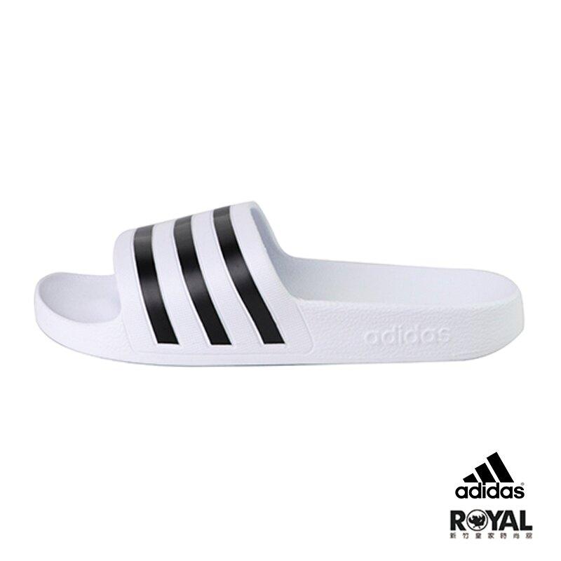 【滿額↘領券再折$150】Adidas 白色 橡膠 防水 涼拖鞋 男女款NO.H2907【新竹皇家 F35539】