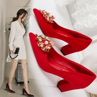 秀禾鞋婚鞋女2020新款尖頭粗跟單鞋結婚高跟鞋紅色婚紗夏宴會新娘  全館免運