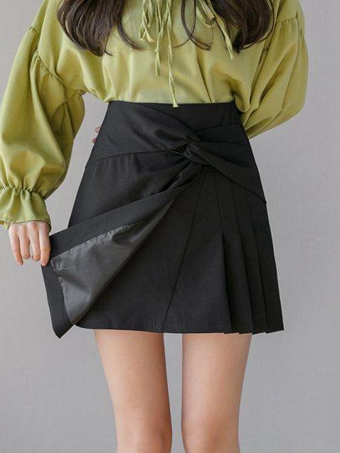 黑色短裙a字裙女半身裙2020夏季新款不規則百褶一步裙包臀裙裙褲 秋冬新品特惠