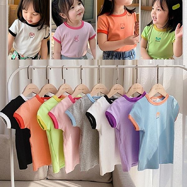 *╮S13小衣衫童裝╭*夏季兒童超值新款糖果色拼色短袖T恤1090517