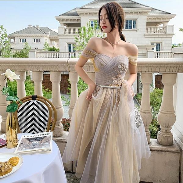 禮服 伴娘服中長款2021新款婚禮仙氣質姐妹團韓版簡約大氣顯瘦禮服裙女