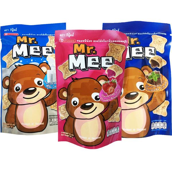 泰國Mr.Mee小蜜熊餅乾25g(牛奶/草莓/巧克力)-三入組