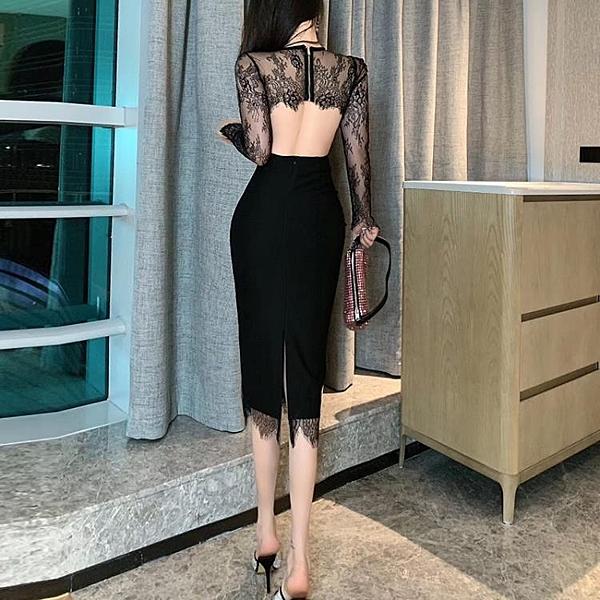 禮服 2020春裝新款名媛氣質性感蕾絲洋裝女修身顯瘦開叉包臀禮服裙子
