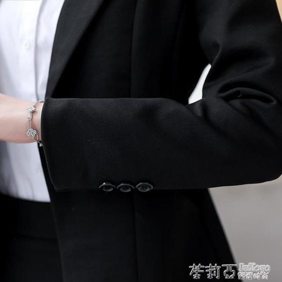 黑色短款小西裝外套女春秋新款正裝工作服韓版長袖職業裝西服上衣