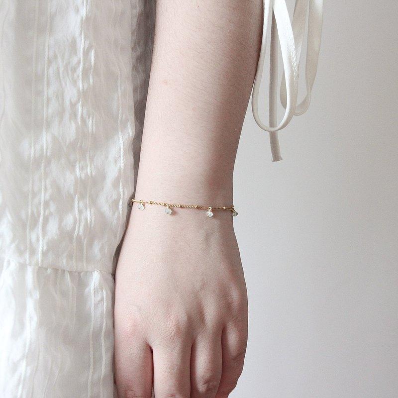 波西米亞風 14KGF極細海藍寶手鏈  3月誕生石 閨蜜女友生日禮物 禮盒包裝