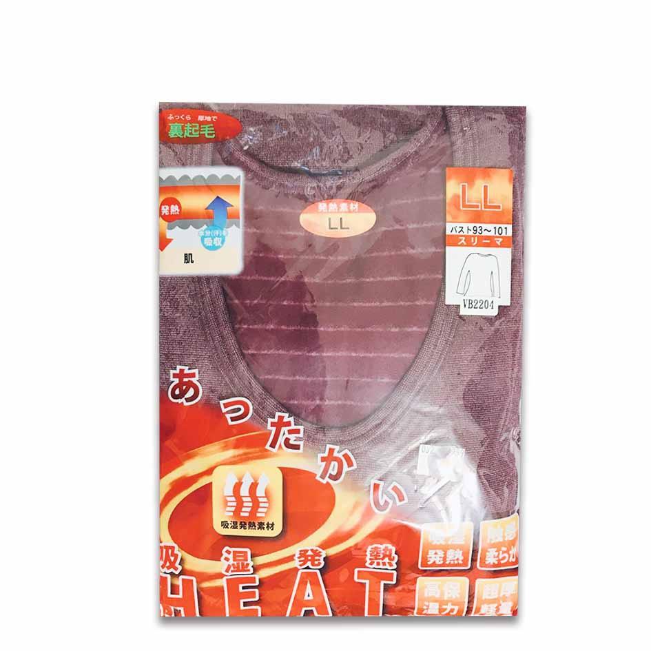 日本製 女生 吸濕 發熱衣 圓領 LL 紅