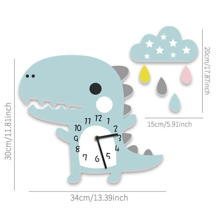 掛鐘ins兒童房掛鐘客廳靜音鐘錶立體卡通恐龍壁掛時鐘幼兒園靜音掛鐘 LX