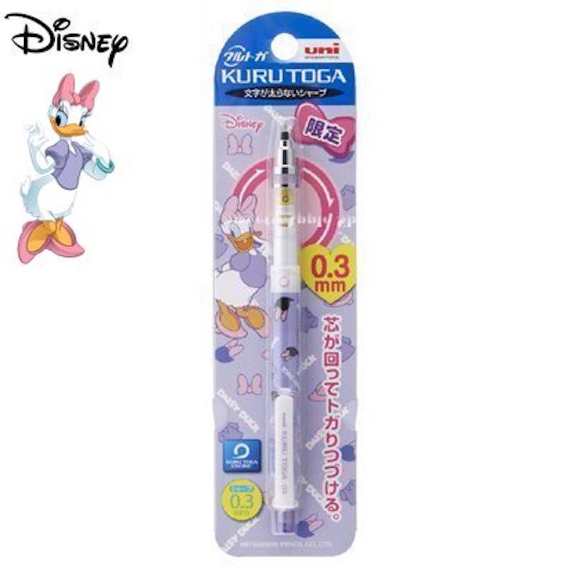迪士尼 【TW SAS日本限定】【 日本製 】三菱鉛筆 KURUTOGA 黛西 LOGO英字滿版 0.3mm 自動鉛筆