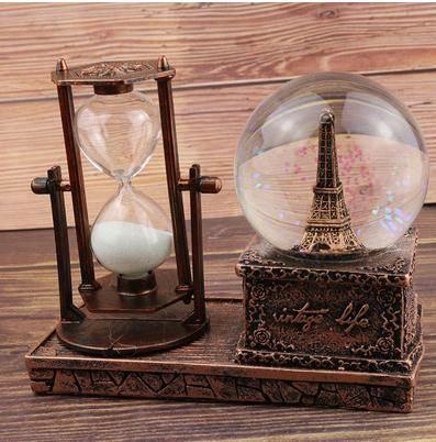 音樂盒巴黎沙漏水晶球音樂盒埃菲爾鐵塔擺件雪花兒童節音樂盒
