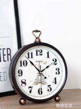 創意坐鐘錶座鐘客廳擺件歐式大號復古臺鐘時鐘桌面臺式鐘家用擺鐘
