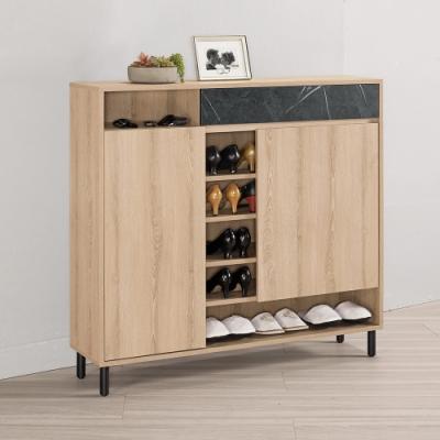 Boden-卡尼特4尺工業風二門一抽鞋櫃/開放式鞋櫃-120x30x112cm