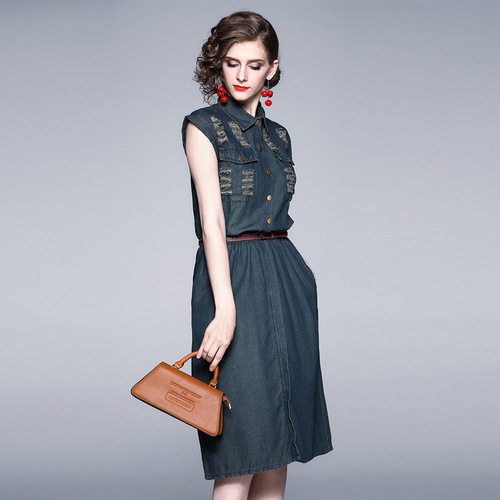 Olivia奧莉精品(S~4XL) 簡約休閒削肩修身中大碼牛仔洋裝連身裙媽媽裝洋裝