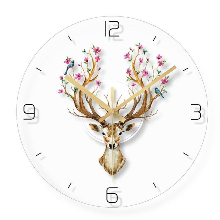 掛鐘北歐動物掛鐘客廳創意時鐘錶簡約現代個性家用家庭靜音電子石英鐘 LX