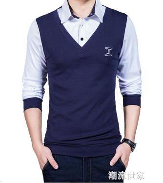 男士秋衣上衣純棉長袖t恤修身韓版假兩件衣服青年打底衫外穿帥氣