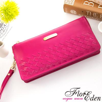 DF Flor Eden皮夾 - 巴黎簡約系列羊皮編織款單拉鍊手拿式長夾-甜美桃