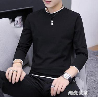 春季長袖T恤男0新款韓版潮流上衣圓領薄款衛衣純色打底衫夏裝 時尚
