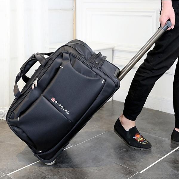 瑞士軍刀拉桿包手提行李包可折疊登機包男女20寸牛津布旅行箱包