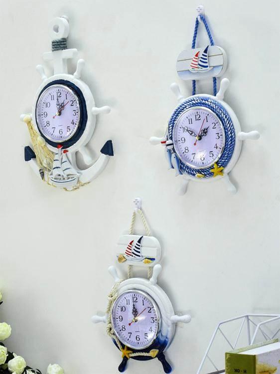 掛鐘地中海家用客廳實木掛鐘創意兒童房臥室靜音鐘錶時鐘墻上裝飾掛錶 LX