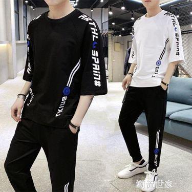 褲子男士夏季短裝韓版潮流薄款寬鬆學生運動休閒9九分褲一套