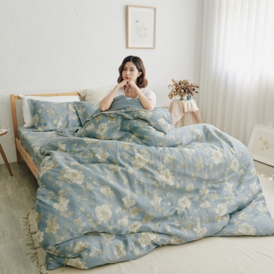 BUHO 100%TENCEL純天絲單人床包+雙人舖棉兩用被床包組 優韻晚香