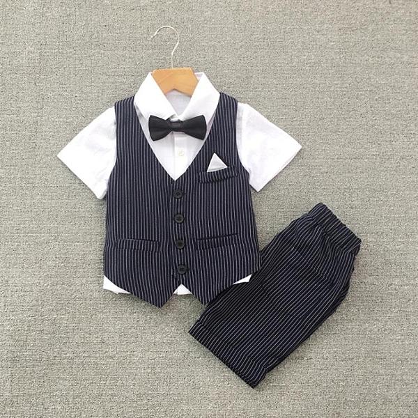兒童西裝套裝男童禮服帥氣英倫花童西服寶寶生日演出服夏裝短褲 滿天星