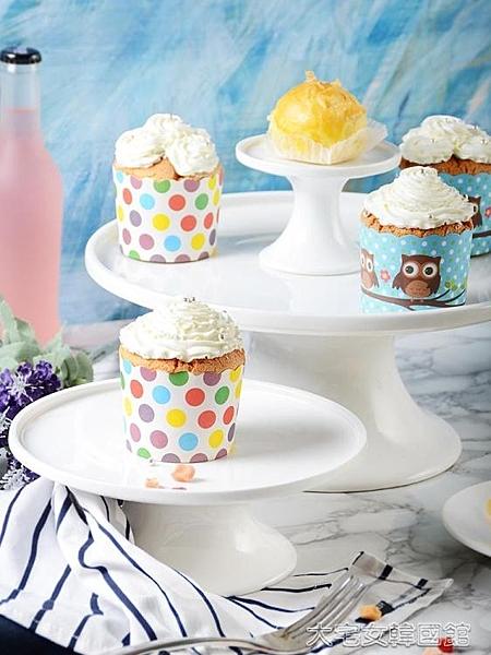 蛋糕架陶瓷蛋糕盤婚禮生日甜品盤高腳蛋糕托盤點心架甜品臺烘焙蛋糕 大宅女韓國館YJT