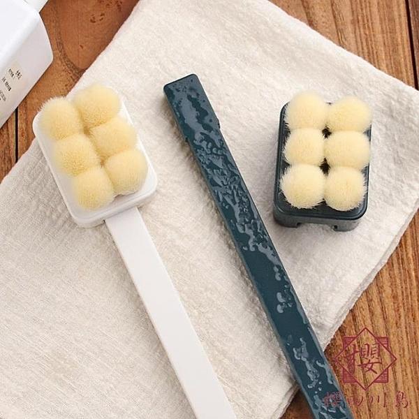 日本搓背洗澡刷子長柄軟毛沐浴刷后背搓澡刷巾【櫻田川島】