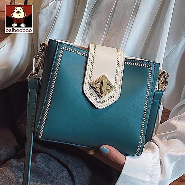 小包包2020新款潮女包水桶包撞色質感側背斜背包女網紅百搭 黛尼時尚精品