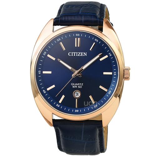 CITIZEN星辰GENT紳士石英皮帶錶-玫瑰金框藍面 / BI5093-01L