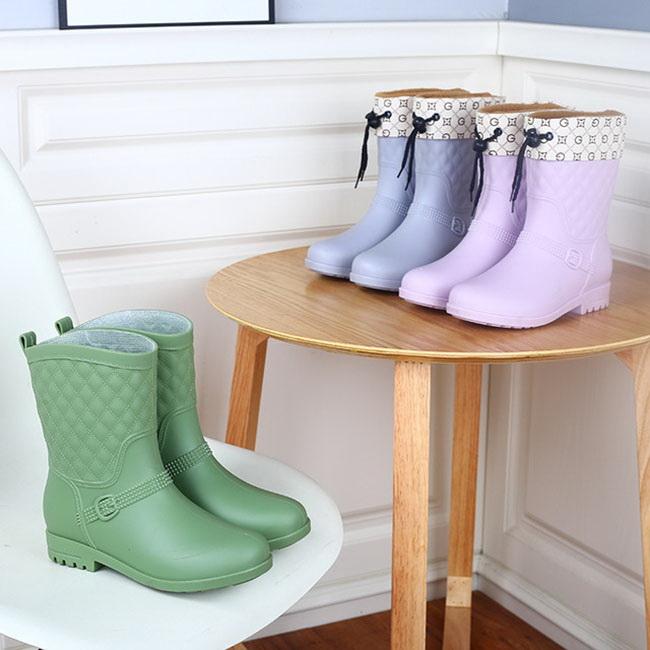 FOFU-雨靴帶棉套四季可穿輕便防滑PVC長筒雨靴【02S12185】