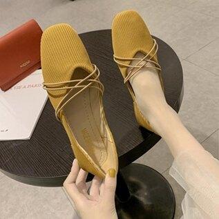 單鞋女夏2020新款網紅女鞋子仙女風方頭平底奶奶鞋淺口豆豆鞋女潮  全館免運