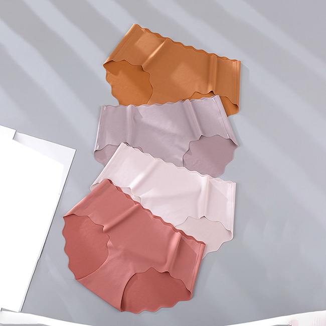 FOFU-內褲韓版純色波浪花邊隨意裁螺紋冰絲無痕內褲【03N-G0102】