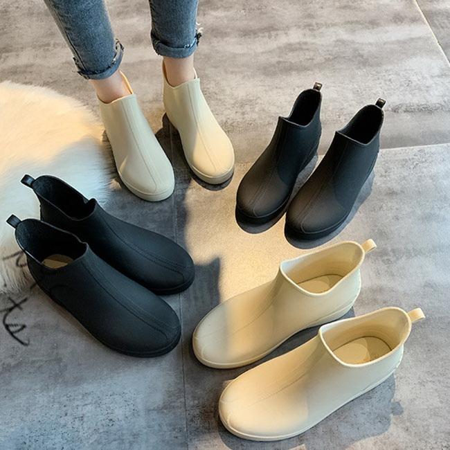 FOFU-雨靴日系純色簡約厚底防水PVC雨靴【02S12180】