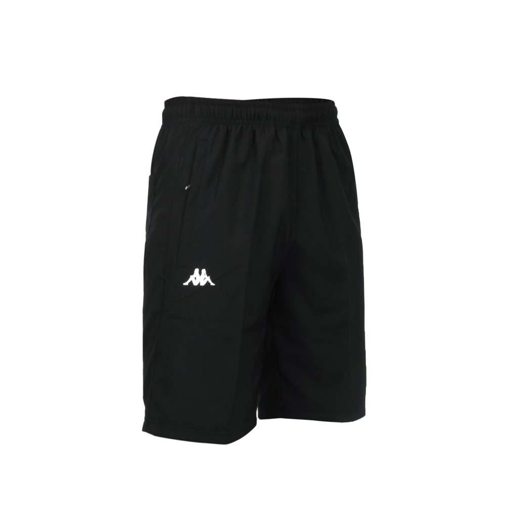 KAPPA 男平織短褲-運動 慢跑 路跑 防潑 抗UV 五分褲 防風 黑白