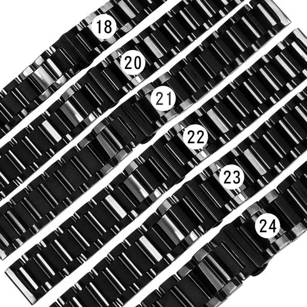 Watchband / 18.20.21.22.23.24 mm / 各品牌通用 亮光色澤 蝴蝶雙壓扣 不鏽鋼錶帶 鍍黑