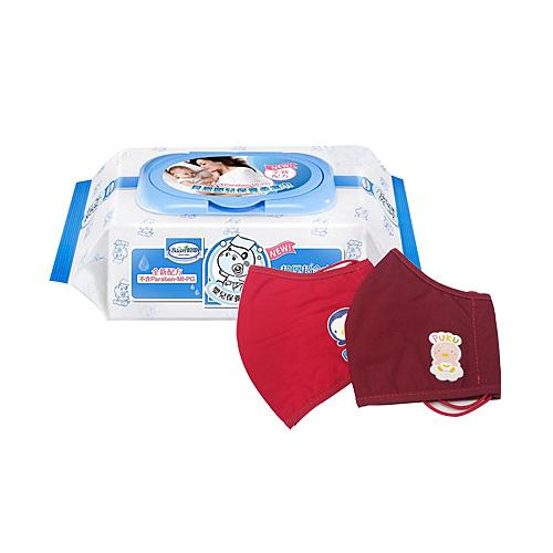 【奇買親子購物網】貝恩Baan NEW嬰兒保養柔濕巾80抽24入/箱 贈PUKU 卡哇伊口罩-紅L*1(顏色隨機)
