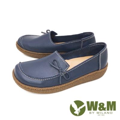 W&M(女)大方頭樂福鞋 莫卡辛鞋 休閒女鞋-藍(另有粉)
