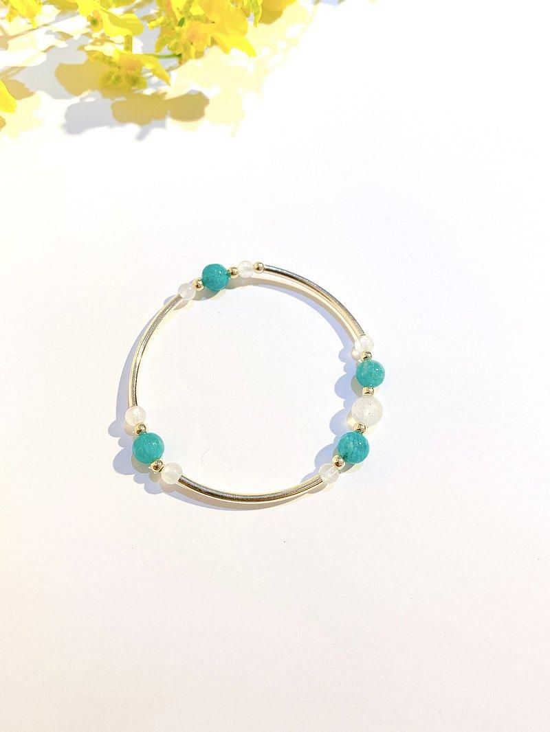 Ops Amazonite silver bracelet-天河石/極簡/湖水綠/銀/月光石