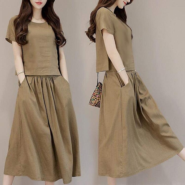 棉麻洋裝 夏裝棉麻套裝裙女短袖氣質女神范衣服潮洋氣連身裙兩件套 麗人印象 免運