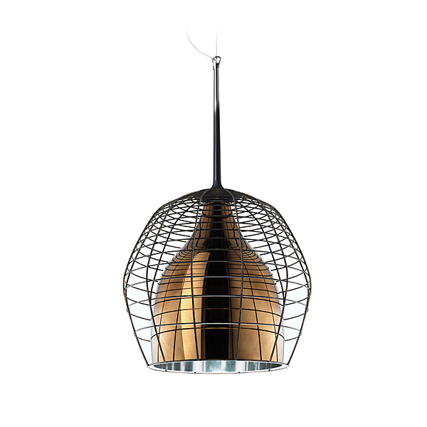 Diesel x Foscarini Cage Piccola Suspension Lamp 34cm 凱吉 吊燈 小尺寸(褐色金屬外網 - 黃銅色玻璃內燈罩)