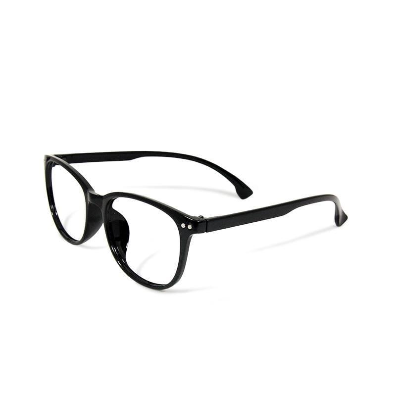 時代廣場的櫥窗│ 簡約造型輕量亮黑方框UV400濾藍光眼鏡 亮棕