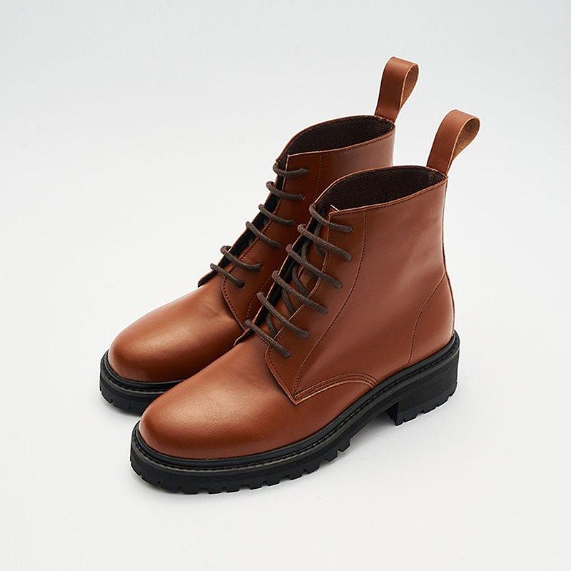 Gullar 六孔馬丁男鞋-素食皮鞋(深黃咖啡色)